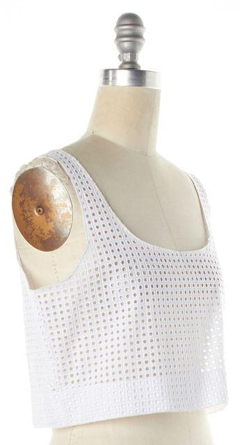 RAG & BONE White Perforated Square Crochet Knit Lakewood Crop Top