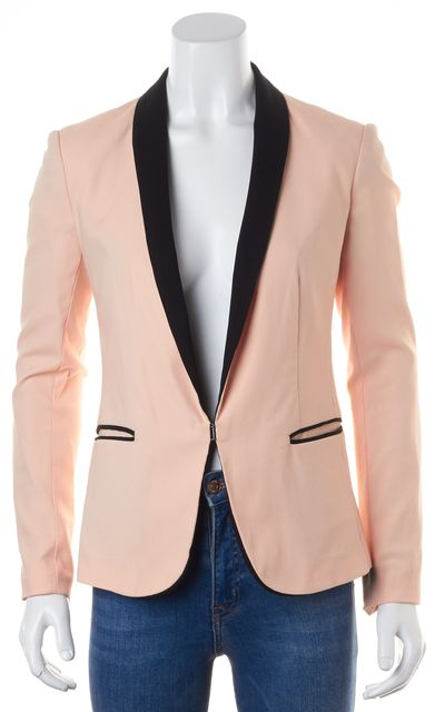RAG & BONE Pink Black Trim Side Pocket Blazer