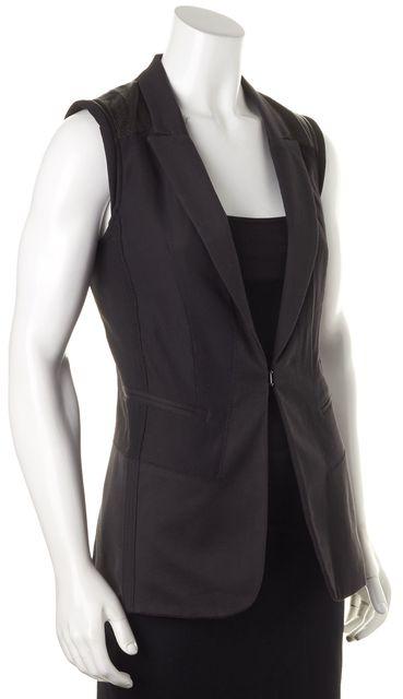 RAG & BONE Solid Black Perforated Shoulder Panels Hook Clasp Vest
