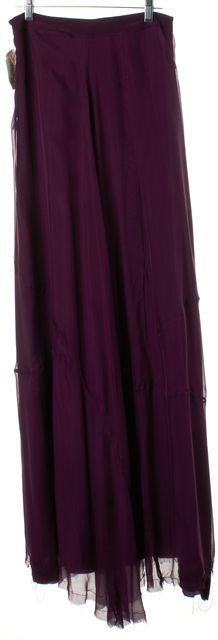 RAG & BONE Dark Purple Silk Fringe Hemline Maxi Skirt