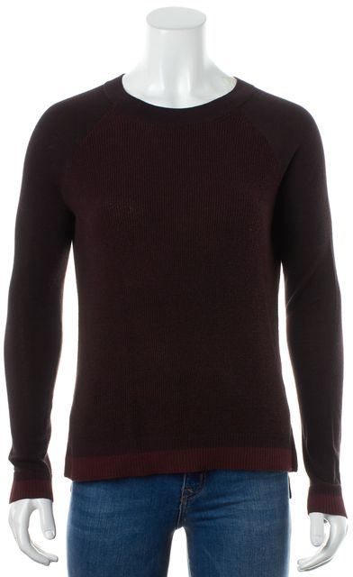 RAG & BONE Maroon Red Thin Knit Long Sleeve Crew Neck Thermal Cotton Top