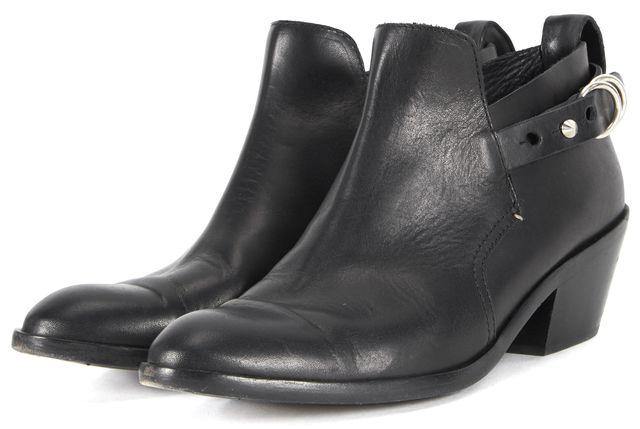 RAG & BONE Solid Black Leather Sullivan Buckle Ankle Boots