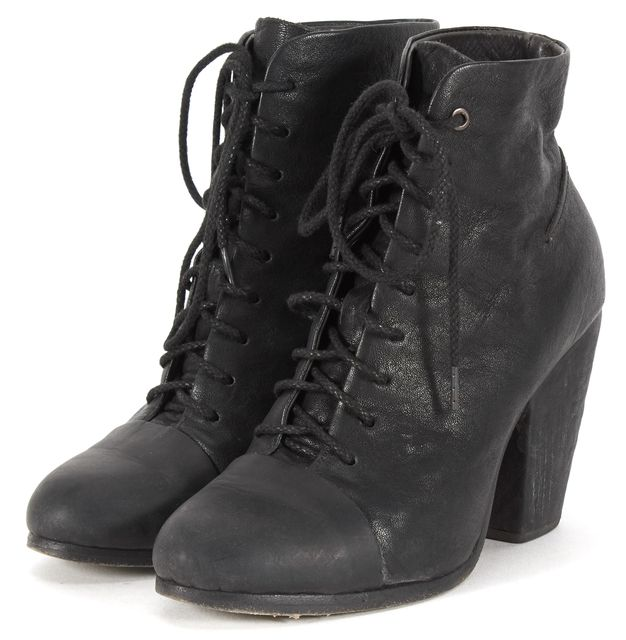 RAG & BONE Black Leather Lace-Up Block Heeled Miles Ankle Boots