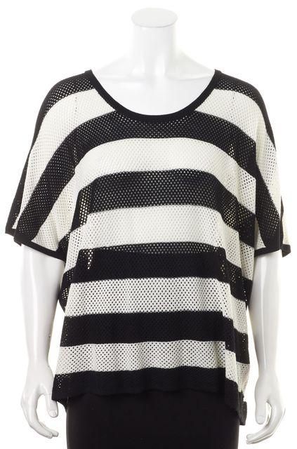 RAG & BONE Black White Sheer Striped Boat Neck Open Knit Sweater