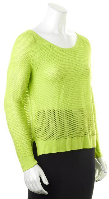 RAG & BONE Neon Green Sheer Boat Neck Mesh Sweater