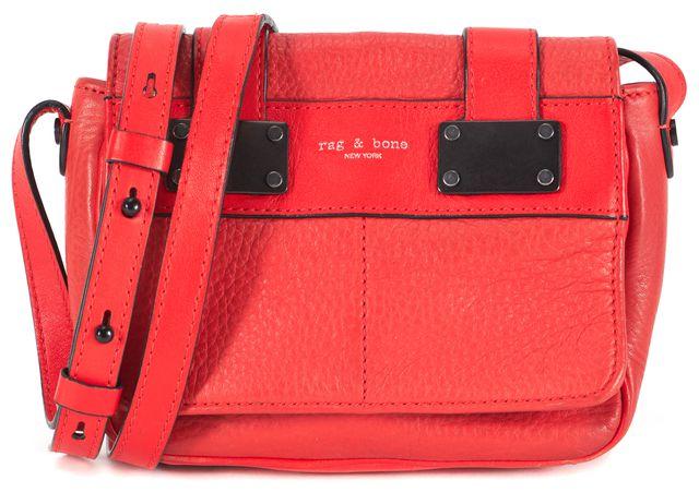 RAG & BONE Red Pebbled Leather Adjustable Strap Mini Pilot Crossbody