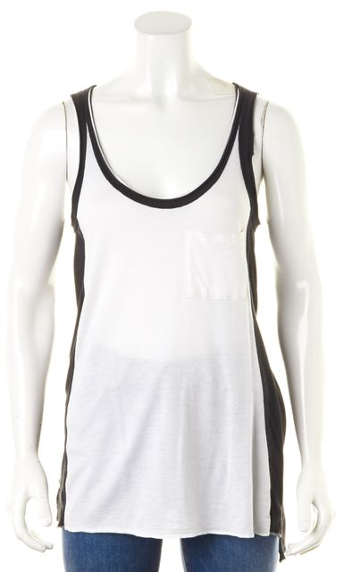 RAG & BONE Black White Colorblock Front Pocket Cotton Tank Top