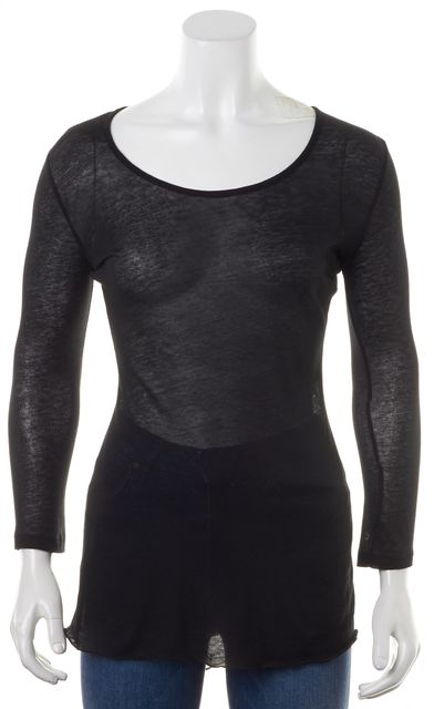 RAG & BONE Black Super Sheer Jersey Silk Back Knit Top