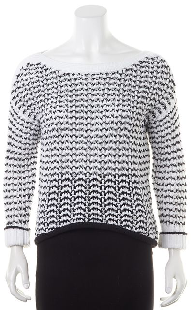 RAG & BONE White Black Striped Open Cable Knit Scoop Neck Sweater