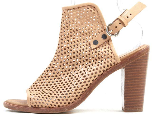 RAG & BONE Light Tan Beige Lazer-Cut Perforated Leather Mule Heels