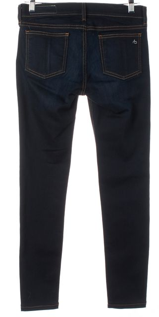 RAG & BONE Blue Coventry Dark Wash Denim Contrast Stitch Skinny Jeans