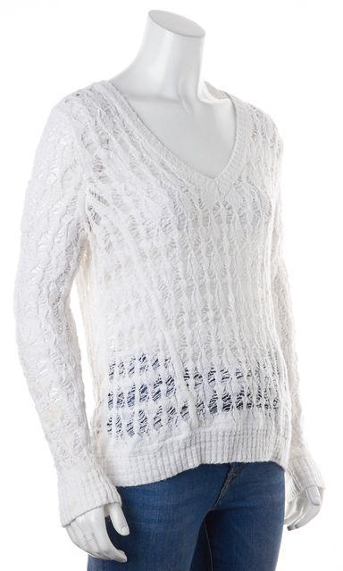RAG & BONE White Sheer Open Knit Long Sleeve V-Neck Sweater