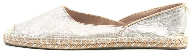 RAG & BONE Silver Leather Georgie Slip-On Espadrille Flats