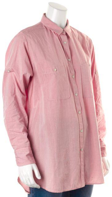 RAG & BONE Heather Red Cotton Oversized Button Down Shirt w Side Pockets