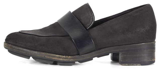 RAG & BONE Black Nubuck Leather Almond Toe Loafers