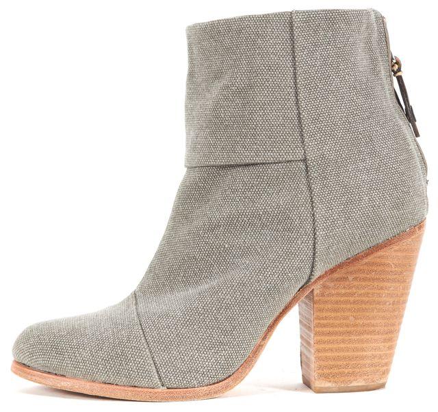RAG & BONE Gray Canvas bury Block Heeled Ankle Boots