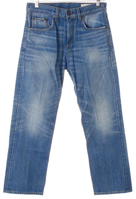 RAG & BONE Zeeburg Blue Marilyn Distressed Denim Relaxed Cropped Jeans