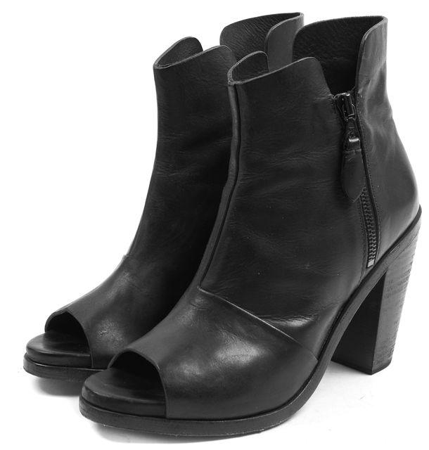 RAG & BONE Black Leather Noelle Open Toe Heeled Ankle Boots