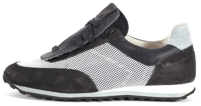 RAG & BONE Black White Suede Leather Dylan Mesh Sneakers