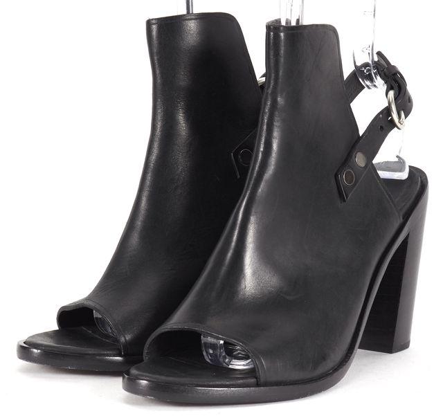 RAG & BONE Black Leather Wyatt Open Toe Heeled Ankle Boots