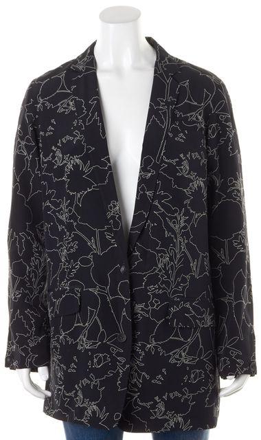 RAG & BONE Black White Abstract Line Print Silk Blazer Jacket