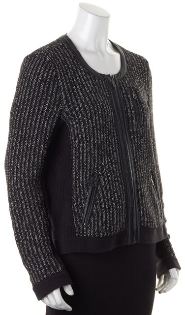 RAG & BONE Black White Marled Knit Leather Trim Zip Up Sweater Jacket
