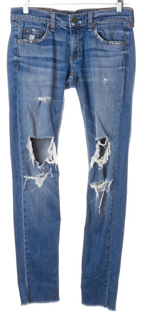 RAG & BONE Kennedy Blue Stretch Cotton Distressed Dre Skinny Jeans