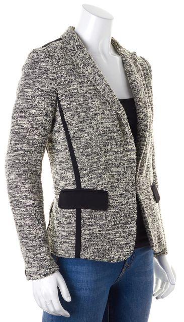 RAG & BONE Ivory Black Marled Boucle Knit Hook & Eye Blazer