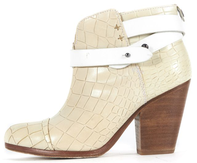 RAG & BONE Ivory White Crocodile Embossed Leather Harrow Ankle Boots