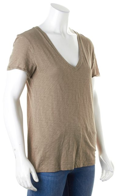 RAG & BONE Olive Green Short Sleeve V-Neck Basic T-Shirt