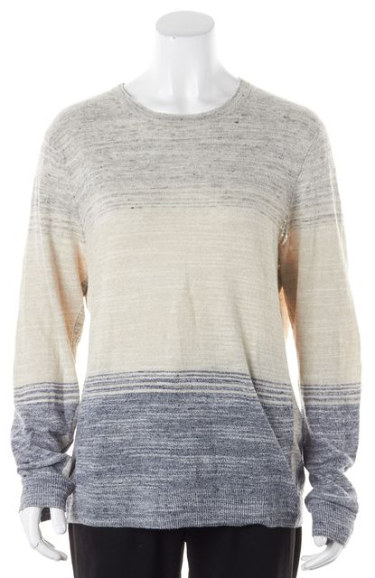 RAG & BONE Gray Blue Melange Stripe Linen Crewneck Sweater