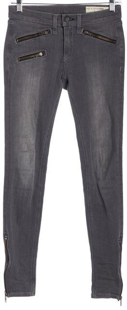 RAG & BONE Gray Moto Ankle Zip Skinny Jeans