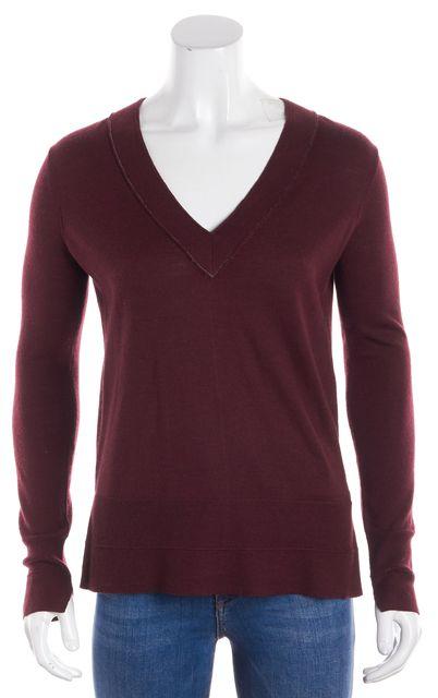 RAG & BONE Burgundy Merino Wool V-Neck Sweater