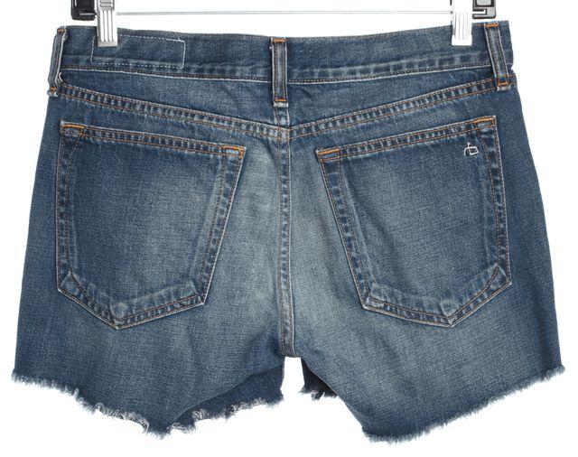 RAG & BONE Torrington Blue Button Front Distressed Hem Denim Shorts