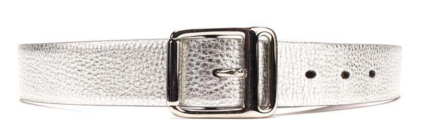 RALPH LAUREN Silver Metallic Leather Silver Buckle Belt