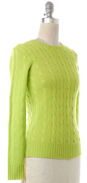 RALPH LAUREN Green Cashmere Crewneck Sweater