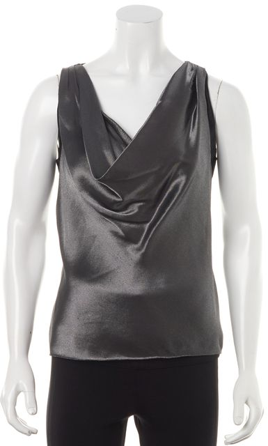 RALPH LAUREN Silver Cowl Neck Sleeveless Summer Blouse Top