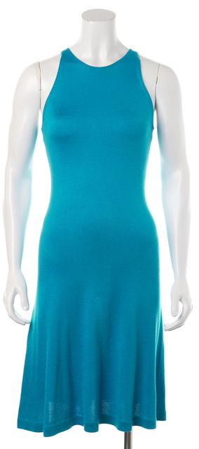 RALPH LAUREN Teal Blue Silk Sleeveless Knee Length Knit Sheath Dress