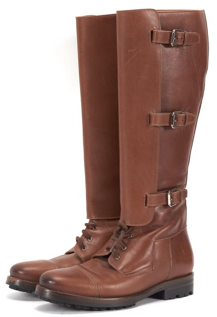 RALPH LAUREN Brown Leather Silver Buckle Lace-Up Knee High Boots