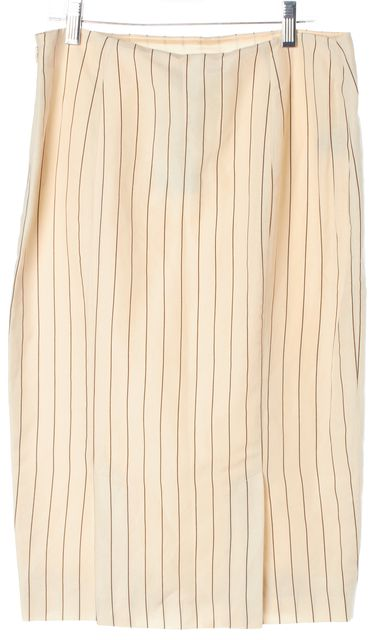 RALPH LAUREN Ivory Brown Striped Linen Silk Back Slits Pencil Skirt