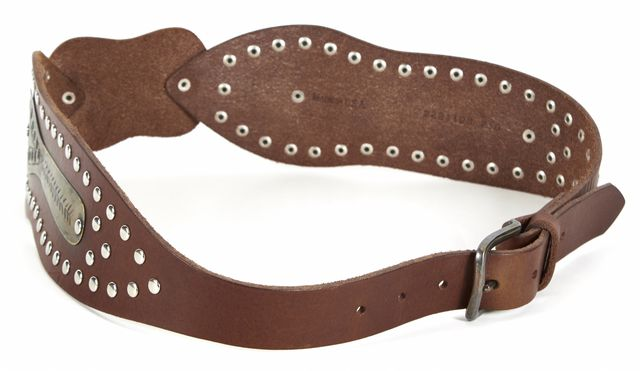 RALPH LAUREN Brown Leather Distressed Gold Plate Studded Wide Belt