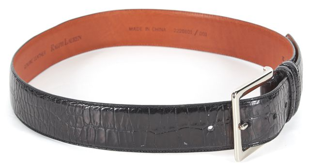 RALPH LAUREN Black Crocodile Embossed Leather Belt