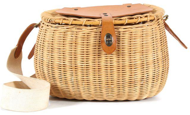 RALPH LAUREN Beige Wicker Leather Trim Adjustable Strap Crossbody