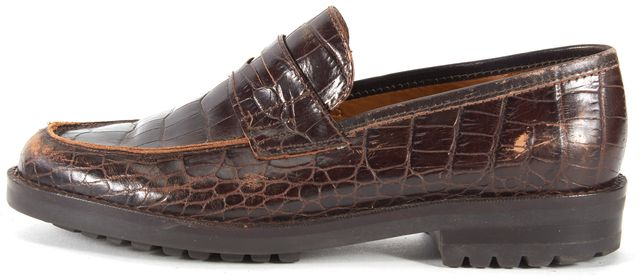 RALPH LAUREN Brown Crocodile Embossed Leather Loafers