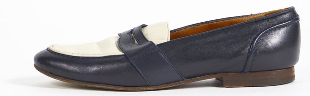 RALPH LAUREN Navy Blue Ivory Leather Penny Loafers