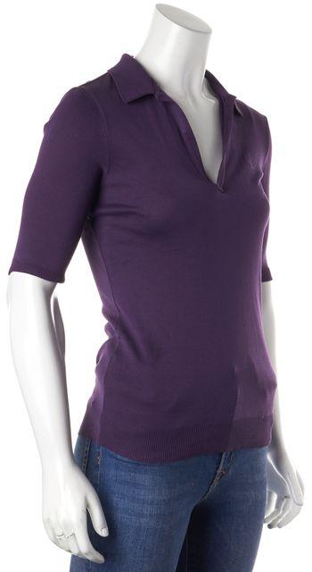 RALPH LAUREN Purple 3/4 Sleeve Cotton Polo Shirt Top