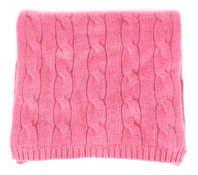 RALPH LAUREN Pink Cashmere Cable Knit Scarf