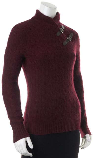 RALPH LAUREN Burgundy Purple Cashmere Mock Neck Two Buckle Sweater