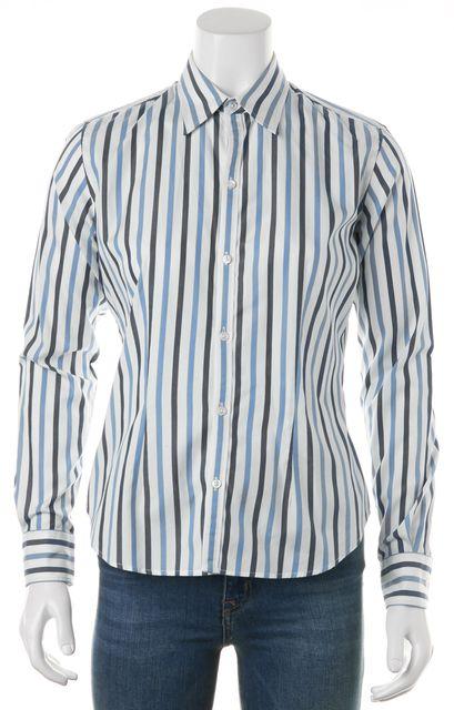 RALPH LAUREN White Blue Striped Cotton Long Sleeve Button Down Shirt Top