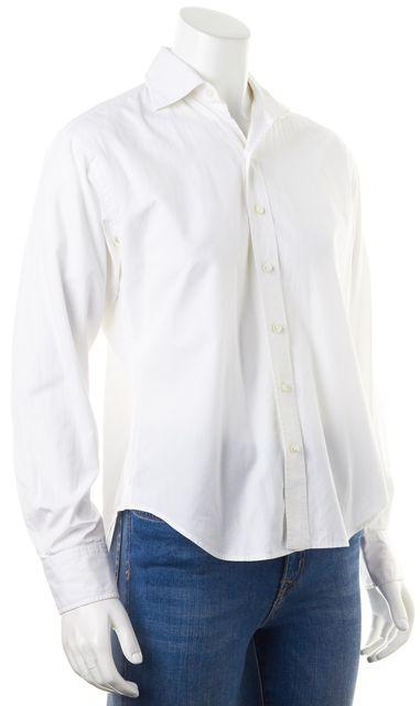 RALPH LAUREN White Cotton Long Sleeve Button Down Shirt